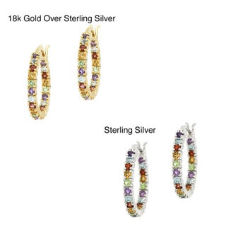 Glitzy Rocks 18k Gold overlay/Sterling Silver Multi-gemstone Hoop Earrings