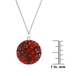 Glitzy Rocks Sterling Silver Dark Red Venetian Glass Necklace