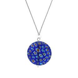 Glitzy Rocks Sterling Silver Blue Venetian Glass Necklace