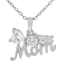 Journee Collection Sterling Silver CZ Flower Mom Necklace