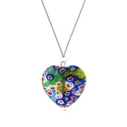 Glitzy Rocks Sterling Silver Venetian Glass Heart Necklace