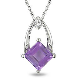 Miadora 10k White Gold Amethyst and Diamond Necklace