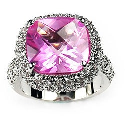 Simon Frank 14k White Gold Overlay Pink Cushion Solitaire CZ Ring
