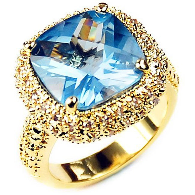 Simon Frank 14k Yellow Gold-overlay Cushion-cut Blue CZ Solitaire Ring
