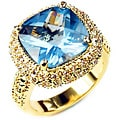 Simon Frank 14k Yellow Gold Overlay Cushion Solitaire CZ Ring