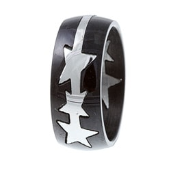 Stainless Steel Black-plated Pop-Out Puzzle Star Ring