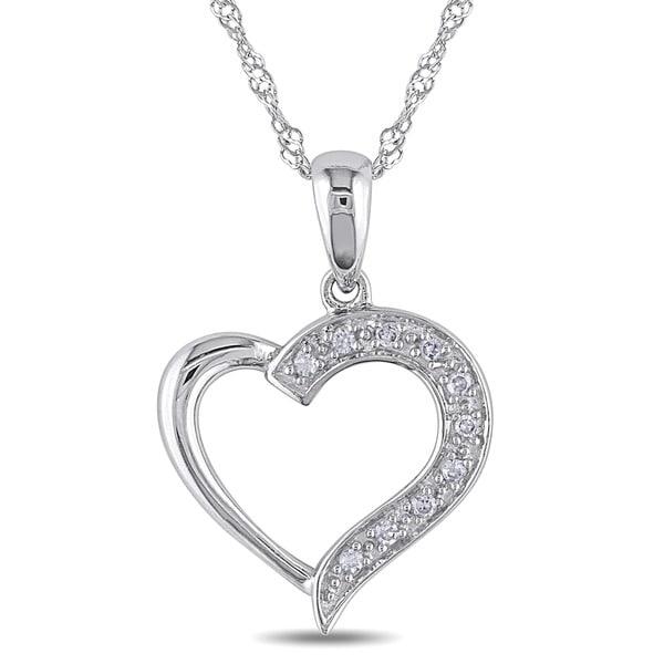 Miadora 14k White Gold Diamond Heart Necklace and Gift Box
