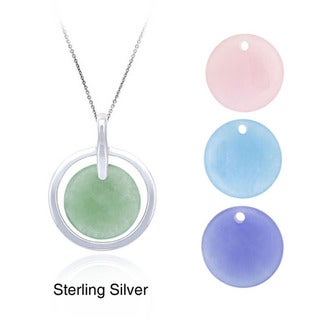 Glitzy Rocks Sterling Silver Jade Interchangeable Necklace