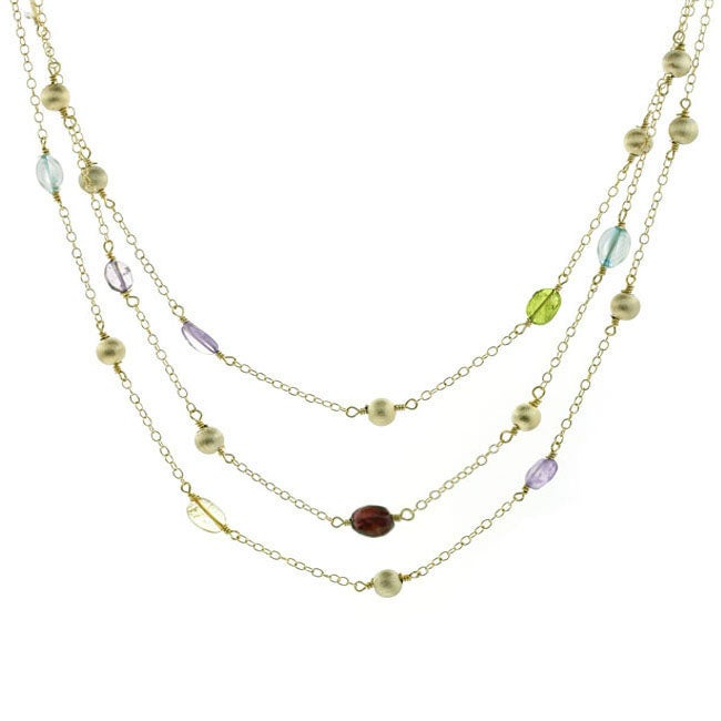 Glitzy Rocks 18k Gold over Sterling Silver Multi-gemstone Necklace