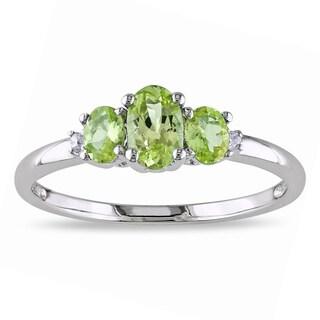 Miadora 10k White Gold Peridot and Diamond 3-stone Ring