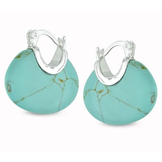 Haylee Jewels Sterling Silver Turquoise Hoop Earrings