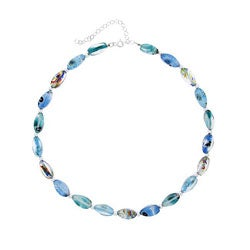 Glitzy Rocks Silver Blue Foil Glass Nugget-shaped Necklace