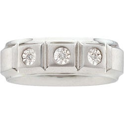 Stainless Steel Men's Diamond Band
