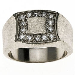14k White Gold Overlay Men's Signet Ring