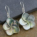 Silver Mother of Pearl Floral Earrings (Indonesia)