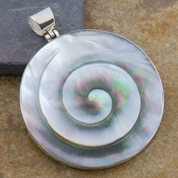 Silver Mother of Pearl Swirl Pendant (Indonesia)