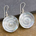 Mother of Pearl Silver Swirl Earrings (Indonesia)