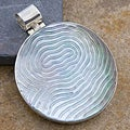 Silver Mother of Pearl 'Labyrinth' Pendant (Indonesia)
