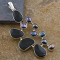 Silver Tahitian Pearls Black Bone Shells Pendant (Indonesia)