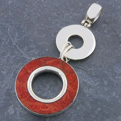 Sterling Silver Red Sea Coral Circles Pendant (Indonesia)