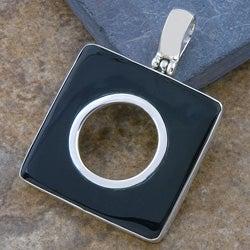 Black Bone Shell Square Silver Pendant (Indonesia)
