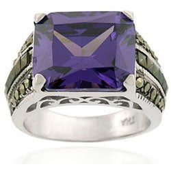 Icz Stonez Sterling Silver Marcasite and Purple CZ Ring