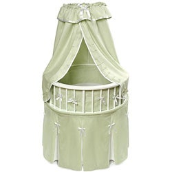 White Elegance Round Bassinet with Sage Waffle Bedding