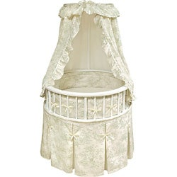White Elegance Round Bassinet with Sage Toile Bedding