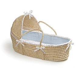 Natural Moses Basket with Blue Waffle Bedding