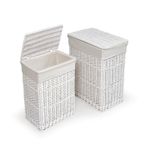 White Hamper with Liners (Set of 2)