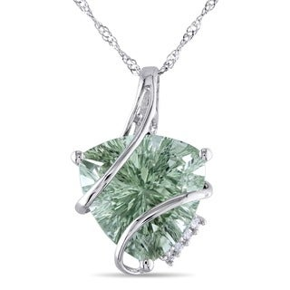 Miadora 14k Gold Green Amethyst and Diamond Necklace