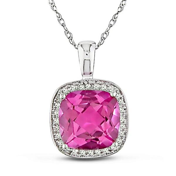 Miadora 10k Gold Pink Topaz and 1/10ct TDW Diamond Necklace