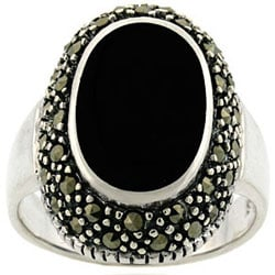 Glitzy Rocks Sterling Silver Oval Marcasite and Onyx Ring