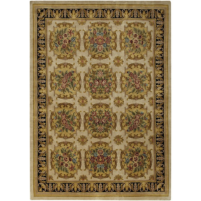 Hand-knotted Mandara Gold Wool Rug (9' x 12')