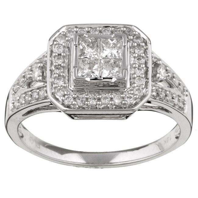 Eloquence 14k Gold 1/2ct TDW Princess Cut Diamond Ring (H-I, I1-I2)