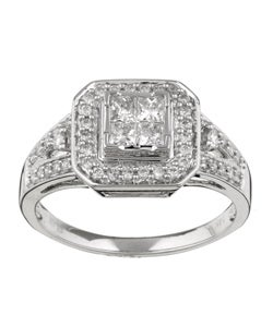 Eloquence 14k Gold 1/2ct TDW Princess Cut Diamond Ring (H-I, I1-I2)