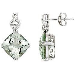 14k Gold Green Amethyst and Diamond Earrings