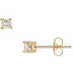 Miadora 14k Gold 1/4ct TDW Princess-cut Traditional Diamond Stud Earrings (H-I, I1-I2)