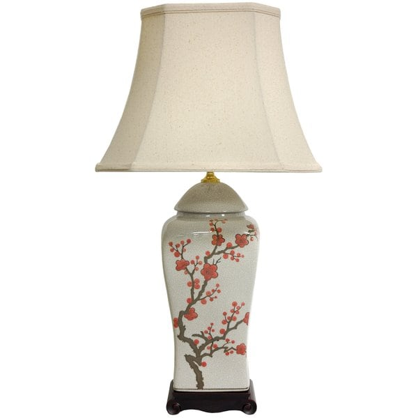 26-inch White and Red Cherry Blossom Porcelain Vase Lamp (China)