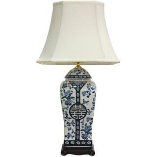 Handmade 26-inch Blue and White Vase Lamp (China)