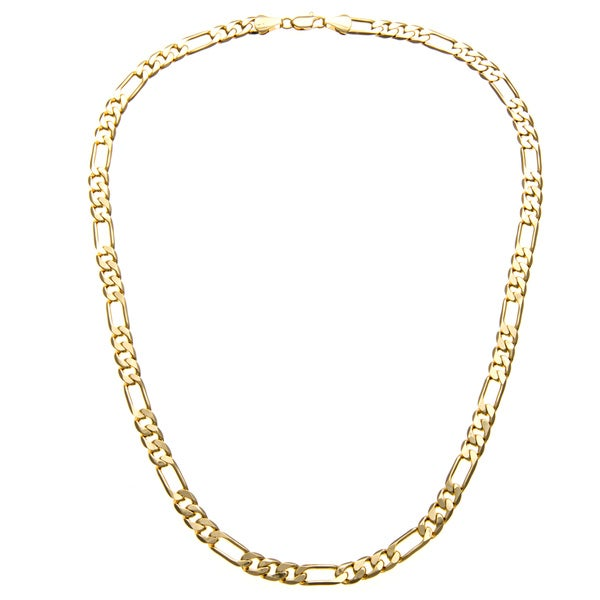 Simon Frank 14k Yellow Gold Overlay 8mm Figaro Chain (24-inch)