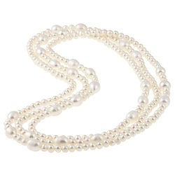 DaVonna White FW 6-7 and 8-9 mm Pearl 60-inch Endless Necklace