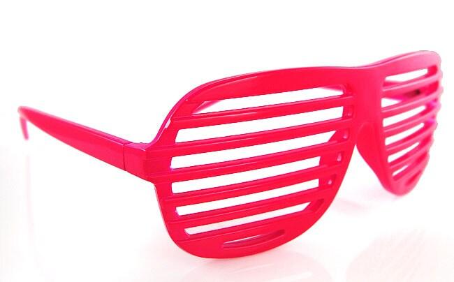 Pink Plastic Slatted Shades Sunglasses