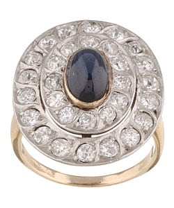14k Gold 7/8ct TDW Diamond and Sapphire Ring (I, SI1)