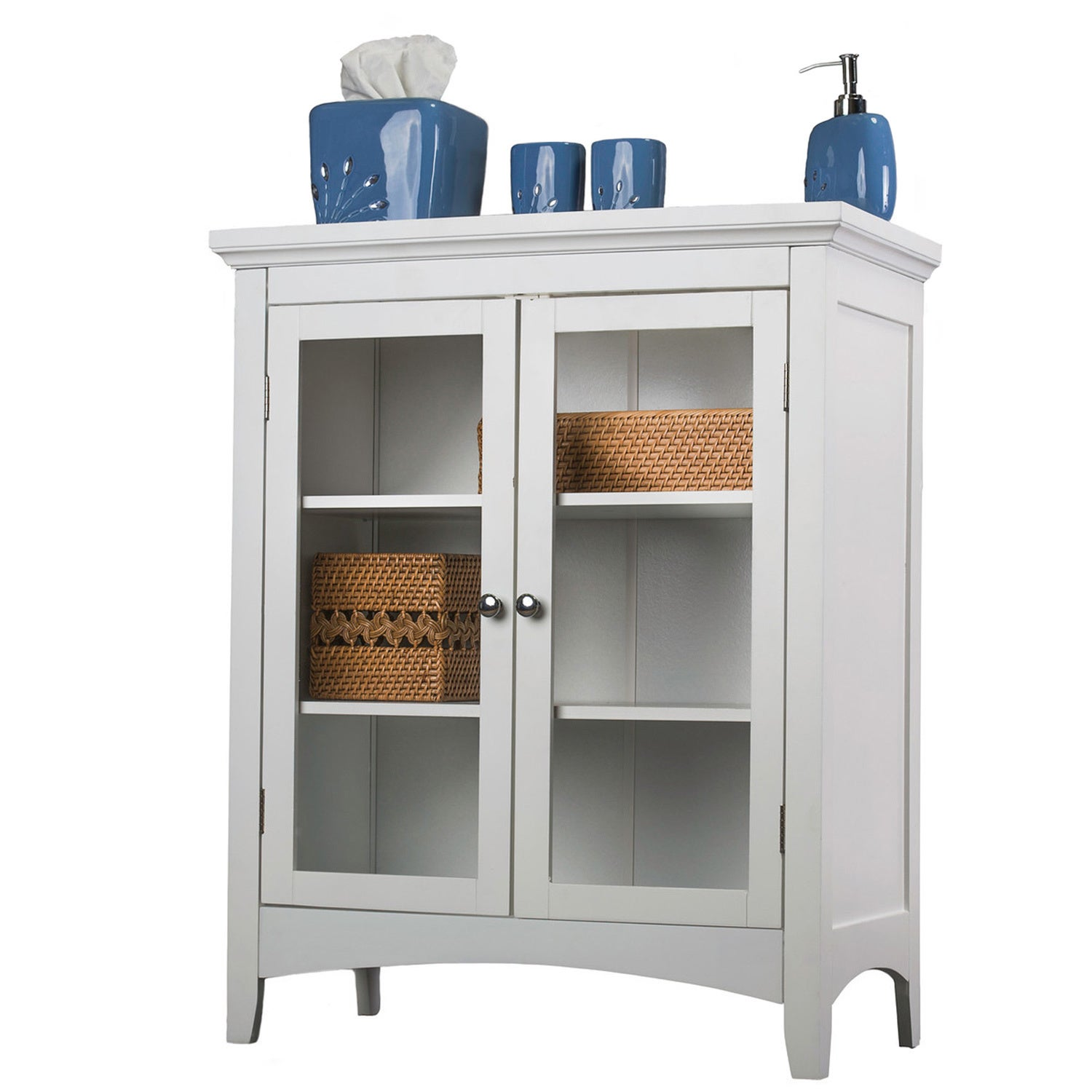 Classique white double floor cabinet overstock shopping - Small floor cabinet for bathroom ...