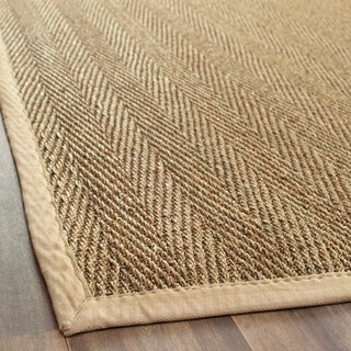 "Handwoven Sisal Natural/Beige Seagrass Bordered Runner (2'6"" x 8')"