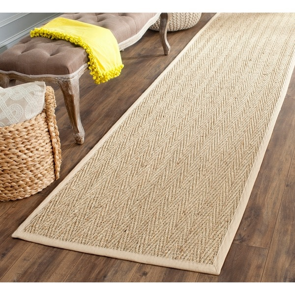 "Safavieh Handwoven Sisal Natural/Beige Seagrass Bordered Runner (2'6"" x 8')"