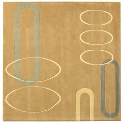 Handmade Soho Ellipses Beige New Zealand Wool Rug (6' Square)