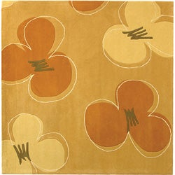 Handmade Soho Daisy Gold New Zealand Wool Rug (6' Square)