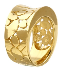 Sterling Essentials 14K Gold over Silver Snakeskin Ring